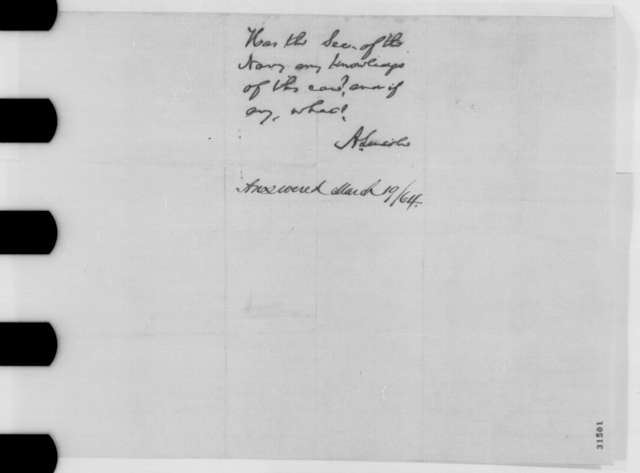 Joshua Hanna to Edwin M. Stanton, Saturday, March 12, 1864  (Case of Lewis Vandergrift; endorsed by Abraham Lincoln)