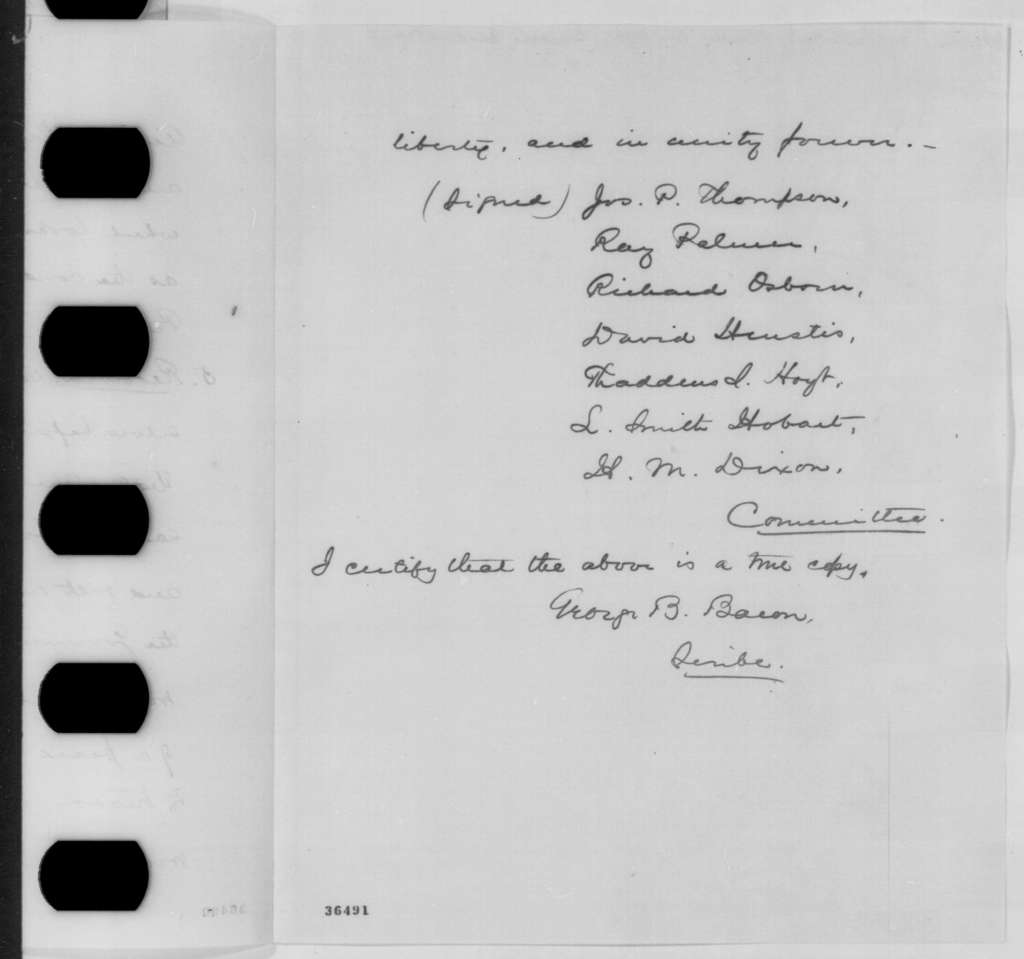 Joshua Leavitt and George B. Bacon to Abraham Lincoln, Tuesday, September 20, 1864  (Sends resolutions from General Association of New York)