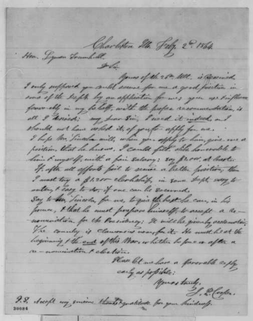 Joshua P. Cooper to Lyman Trumbull, Tuesday, February 02, 1864  (Seeks office; endorsed by Trumbull)