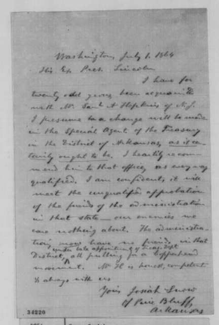 Josiah Snow to Abraham Lincoln, Friday, July 01, 1864  (Recommendation)