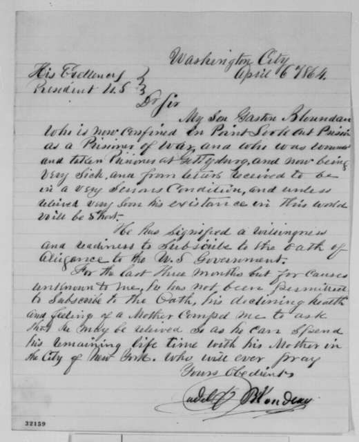 Judel Blondan to Abraham Lincoln, Wednesday, April 06, 1864  (Seeks release of his son from prison camp; endorsed by Levi C. Turner)