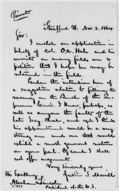 Justin S. Morrill to Abraham Lincoln, Wednesday, November 02, 1864  (Cover letter; recommendation)