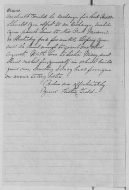 Katherine Todd to Abraham Lincoln, Monday, September 05, 1864  (Requests exchange of General Beall)