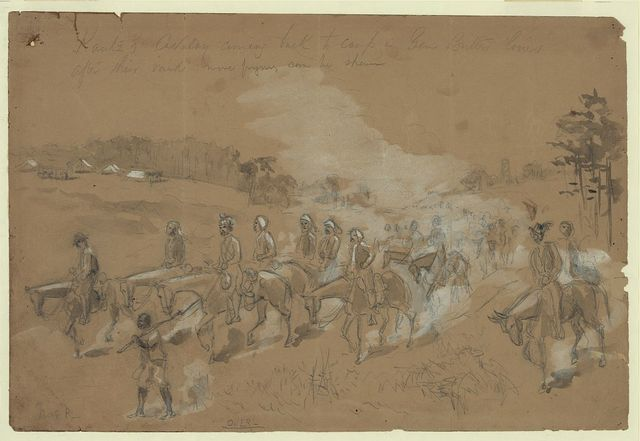 Kautz's Cavalry coming back to camp in Gen Butlers lines after their raid