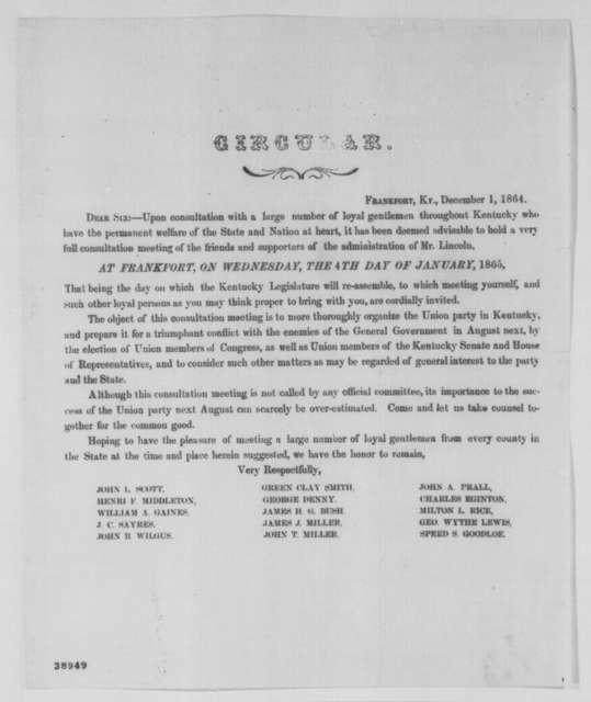Kentucky Union Party, Thursday, December 01, 1864  (Printed circular)