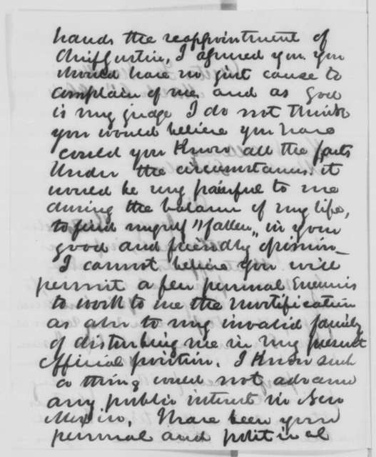 Kirby Benedict to Abraham Lincoln, Sunday, March 06, 1864  (Does not want to be removed from office)