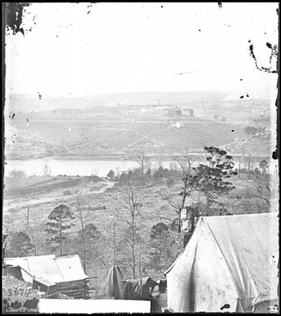 [Knoxville, Tenn. Environs of Knoxville seen from south bank of Tennessee River; East Tennessee University in middle distance]
