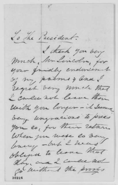 Laura C. Redden to Abraham Lincoln, Monday, September 12, 1864  (Thanks Lincoln for reading her poems)