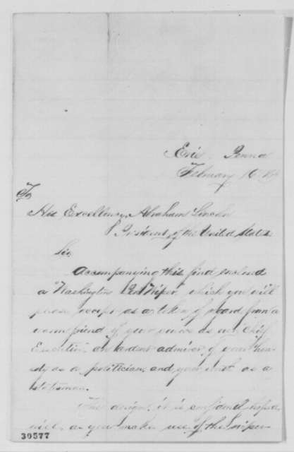 Laura Culbertson to Abraham Lincoln, Tuesday, February 16, 1864  (Sends pen wiper)