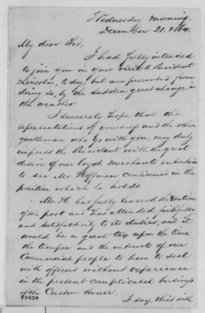 Lawrence Thomsen to William Chesnut, Wednesday, December 21, 1864  (Unable to travel to Washington)
