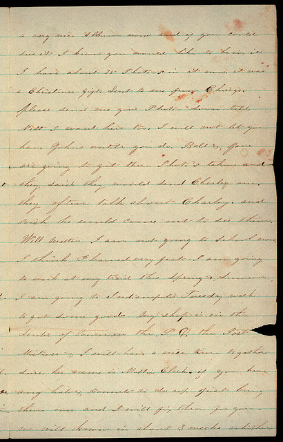 Letter from Lonesom Lizzie to Mattie V. Thomas, March 27, 1864