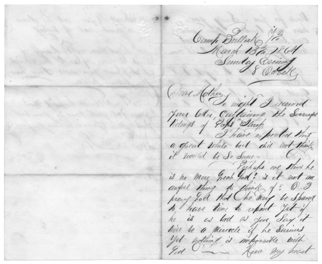 Letter from Tilton C. Reynolds to Juliana Smith Reynolds, March 16, 1864