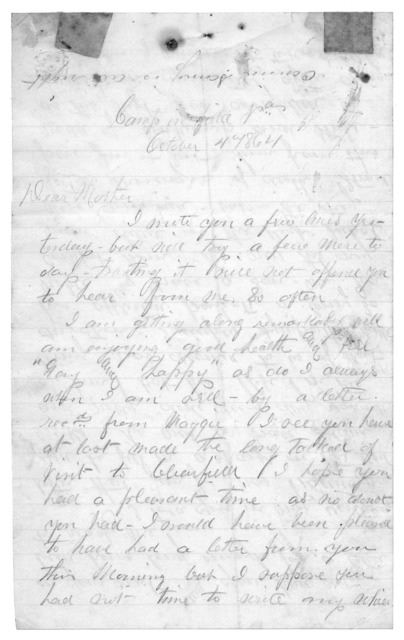 Letter from Tilton C. Reynolds to Juliana Smith Reynolds, October 4, 1864