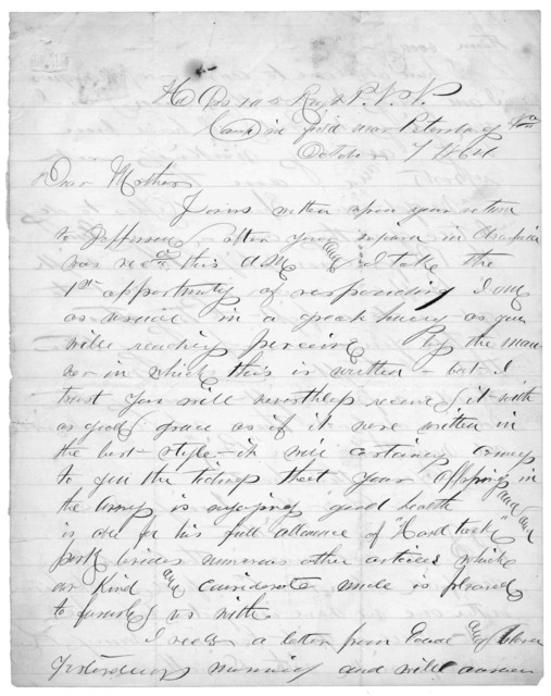 Letter from Tilton C. Reynolds to Juliana Smith Reynolds, October 7, 1864