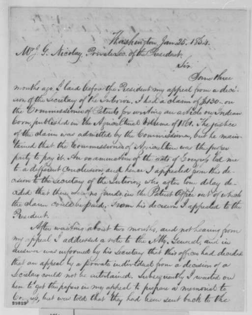 Lewis Bollman to John G. Nicolay, Monday, January 25, 1864  (Seeks payment of claim)