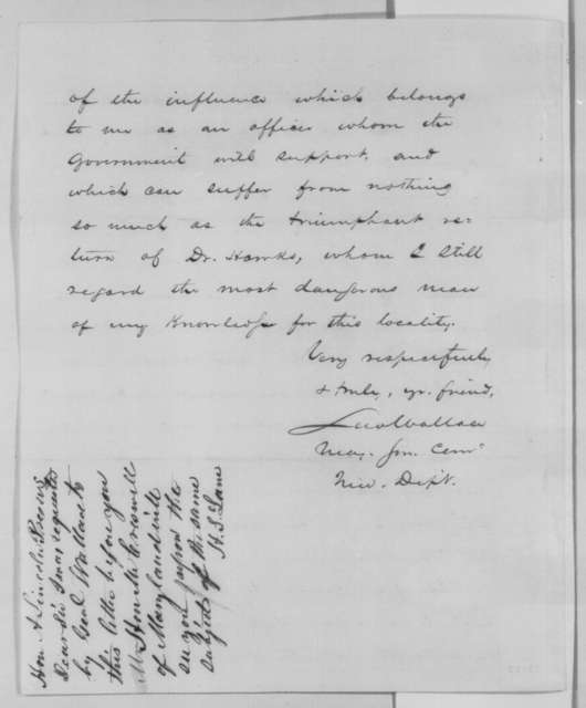 Lewis Wallace to Abraham Lincoln, Tuesday, June 21, 1864  (Case of Francis Hawks; endorsed by Henry S. Lane)