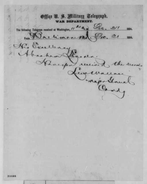 Lewis Wallace to Abraham Lincoln, Wednesday, December 21, 1864  (Telegram concerning court martial records)