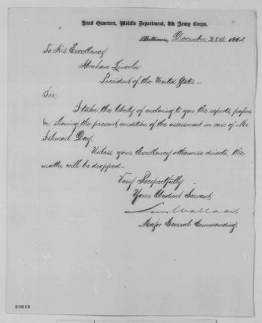 Lewis Wallace to Abraham Lincoln, Wednesday, December 28, 1864  (Cover letter)