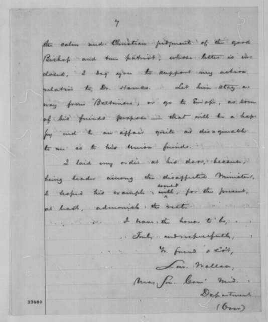 Lewis Wallace to Abraham Lincoln, Wednesday, May 11, 1864  (Reply to Lincoln's May 10 telegram concerning case of Francis L. Hawks)