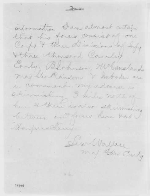 Lewis Wallace to Edwin M. Stanton, Wednesday, July 06, 1864  (Telegram conveying dispatch from General Sigel)