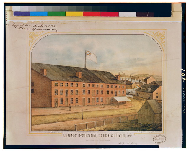 Libby Prison, Richmond, Va. / sketched by W.C. Schwartzburg, Co. A, 24th Wis. Vols. ; lith. by E. Sachse & Co. 104 S. Charles St. Baltimore.