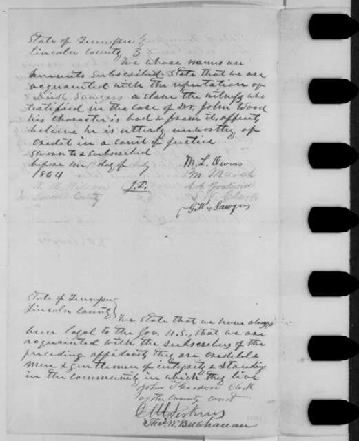 Lincoln County Tennessee Citizens to Abraham Lincoln, Tuesday, July 19, 1864  (Petition on behalf of John Wood)