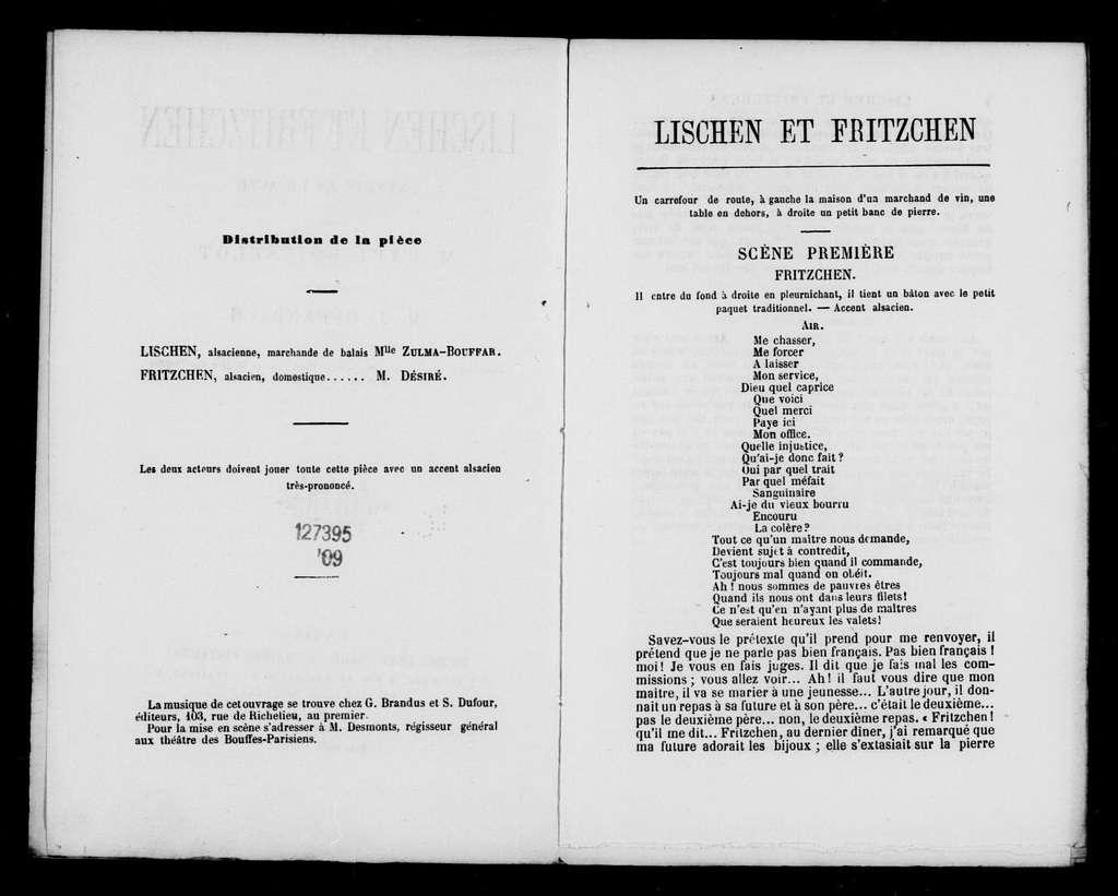 Lischen und Fritzchen. Libretto. French