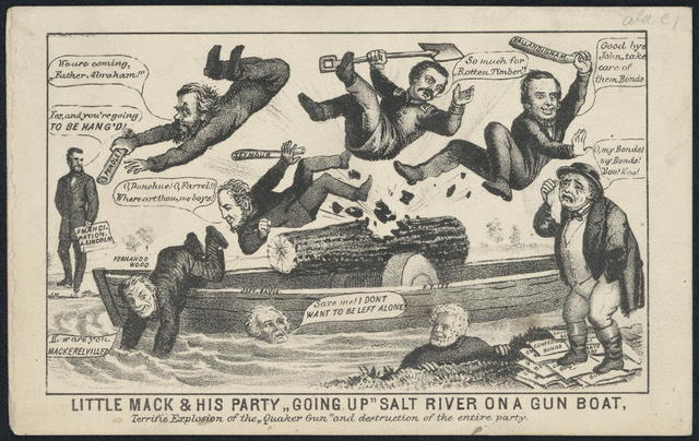 "Little Mack and his party ""going up"" Salt River on a gunboat. Terrific explosion of the ""Quaker gun"" and destruction of the entire party."