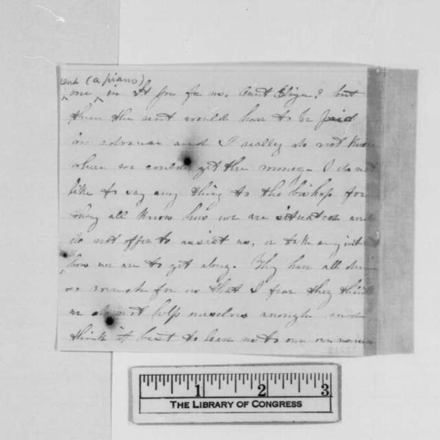 Lizzie Calhoun to Eliza R. Inslee, May 1864  (Fragment concerning financial troubles of Calhoun family)