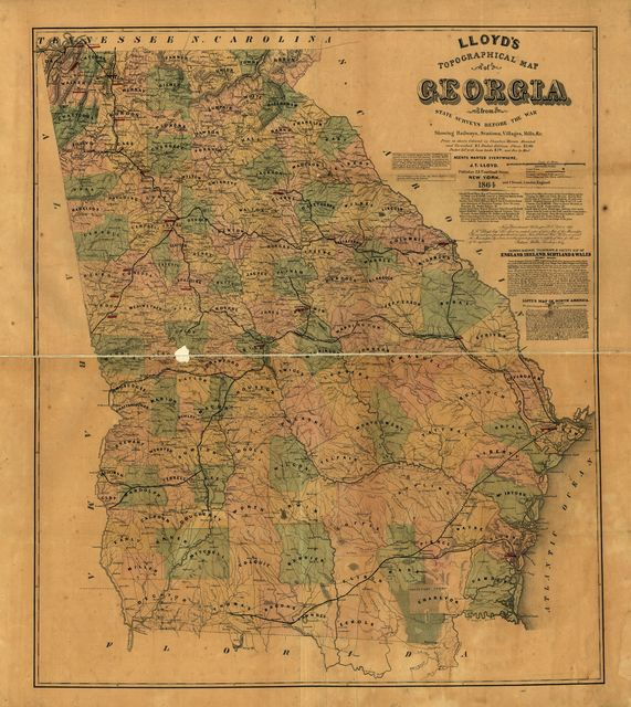 Lloyd's topographical map of Georgia from state surveys before the war showing railways, stations, villages, mills, &c.