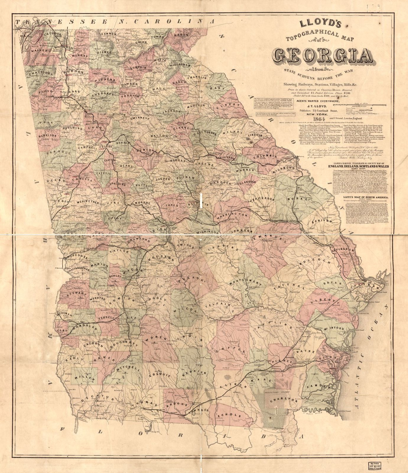 Lloyd's Topographical map of Georgia from state surveys before the war showing railways, stations, villages, mills, &c. /