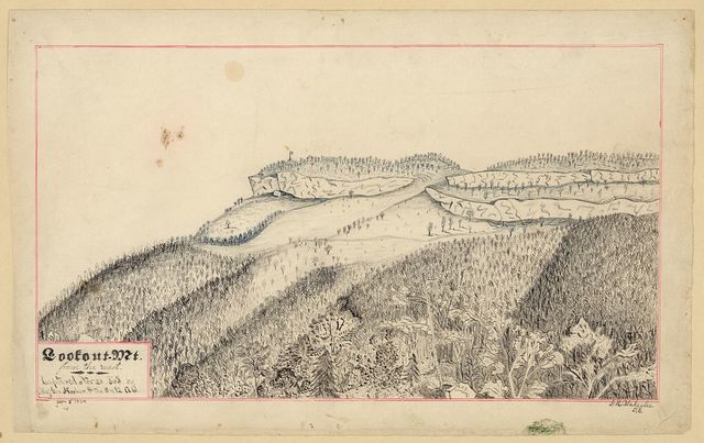 Lookout. Mt. from the west. Captured No 23 1863 by Maj Gen Hooker & the 11 and 12 A[G?]