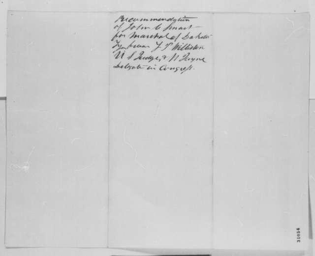 Lorenzo P. Williston to William Jayne, Saturday, February 27, 1864  (Appointment of marshal for Dakota Territory; endorsed by Jayne)