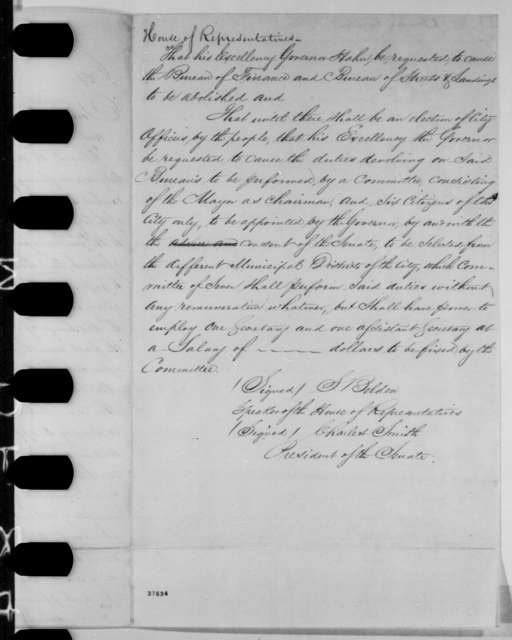 Louisiana Legislature, [October 1864]  (Resolutions; endorsed by Michael Hahn)