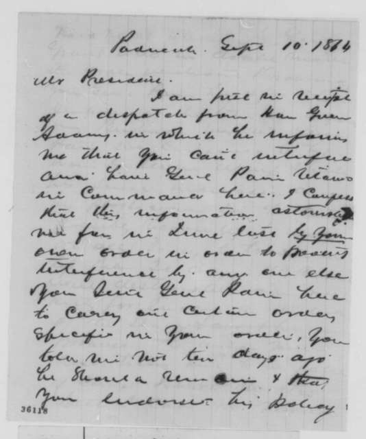 Lucien Anderson to Abraham Lincoln, Saturday, September 10, 1864  (Military affairs in Kentucky)