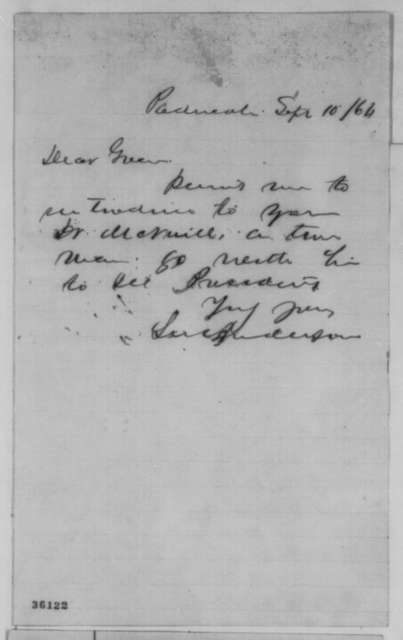 Lucien Anderson to Green Adams, Saturday, September 10, 1864  (Introduction)