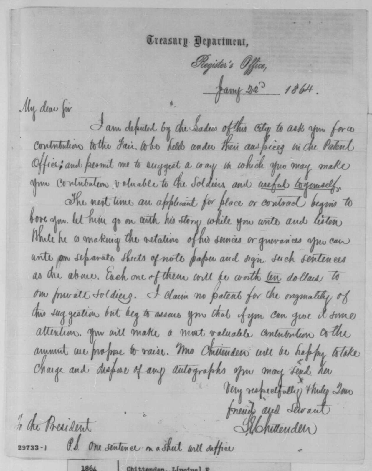 Lucius E. Chittenden to Abraham Lincoln, Friday, January 22, 1864  (Requests contribution to Patent Office Fair)