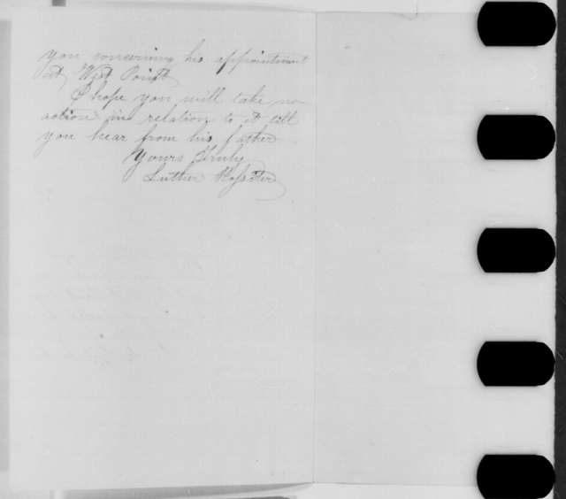 Luther Rossiter to Abraham Lincoln, Thursday, February 11, 1864  (West Point appointment for Frank Judd)