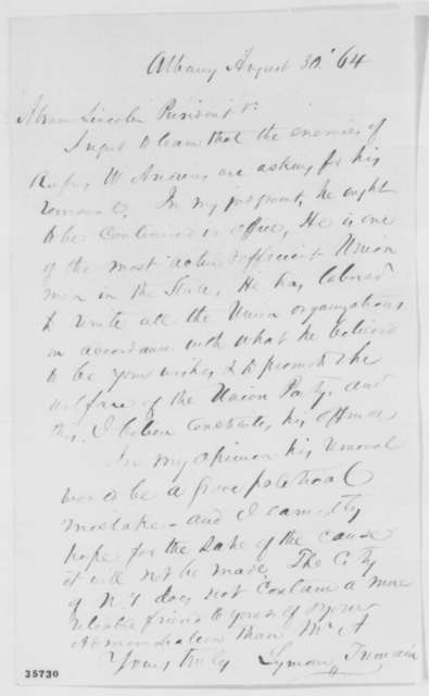 Lyman Tremain to Abraham Lincoln, Tuesday, August 30, 1864  (Letter on behalf of Rufus Andrews)