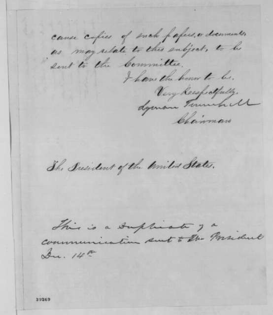 Lyman Trumbull to Abraham Lincoln, Wednesday, December 14, 1864  (Recognition of Louisiana state government)
