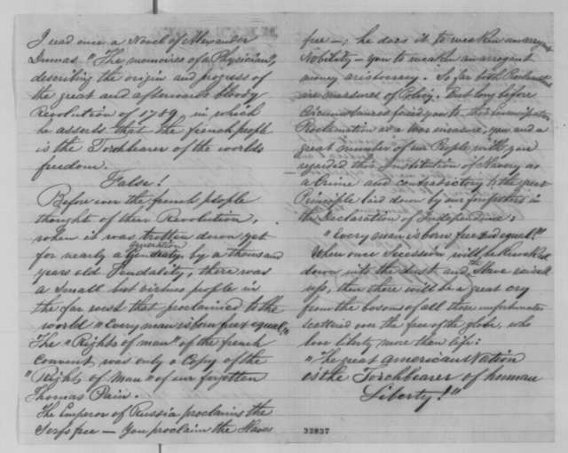 M. H. Traubel to Abraham Lincoln, Wednesday, May 04, 1864  (Support)