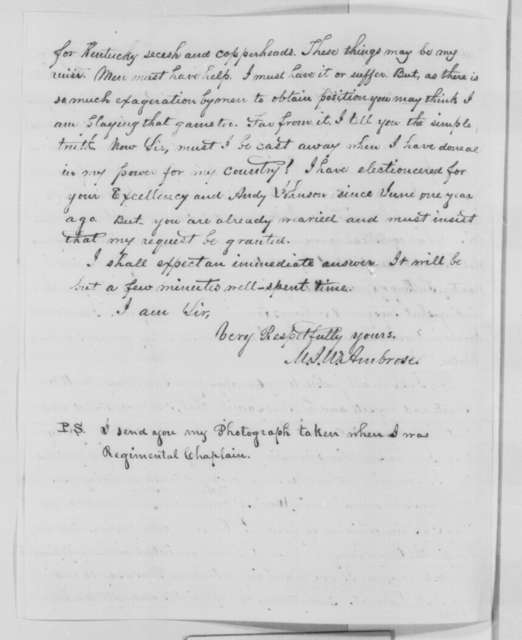 M. J. W. Ambrose to Abraham Lincoln, Wednesday, August 03, 1864  (Appointment as a chaplain)