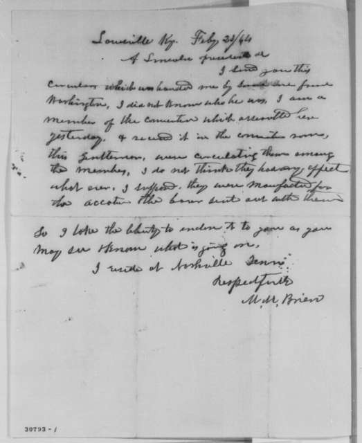M. M. Brien to Abraham Lincoln, Tuesday, February 23, 1864  (Sends copy of Pomeroy Circular)