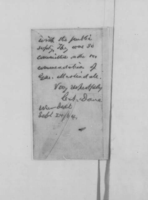 Maggie K. Ryan to Abraham Lincoln, Wednesday, September 28, 1864  (Case of George W. Jameson; endorsed by Abraham Lincoln and Charles A. Dana)