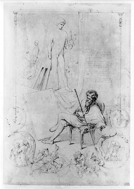 [Man seated in front of model and painting, with staff and palette, and cherubs(?) nearby]