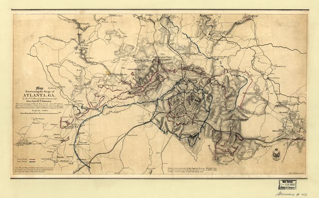 Map illustrating the siege of Atlanta, Ga. by the U.S. forces, under command of Maj. Gen. W.T. Sherman : from the passage of Peach Tree Creek, July 19th, 1864 to the commencement of the movement upon the enemy's lines of communication south of Atlanta, August 26, 1864 /