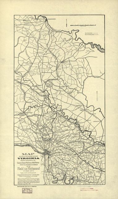 Map of a part of the eastern portion of Virginia showing the route of the Cavalry Corps of the Army of the Potomac under Major General P.H. Sheridan on the raid to Richmond in May 1864 : together with the route followed by the Confederate Cavalry under Major General J.E.B. Stuart /