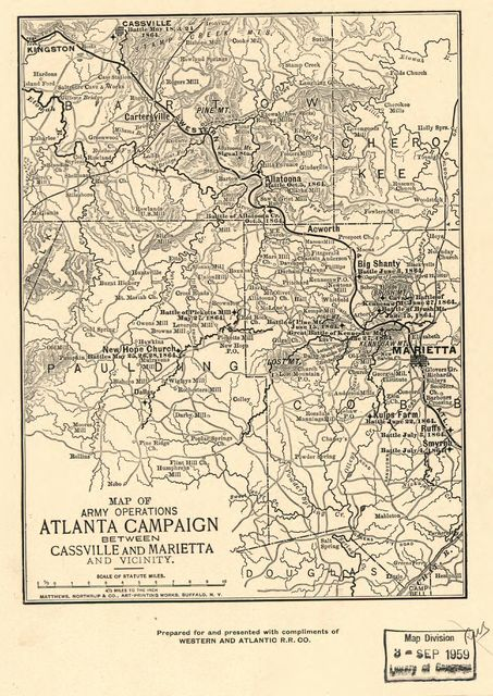 Map of army operations Atlanta campaign between Cassville and Mariette and vicinity