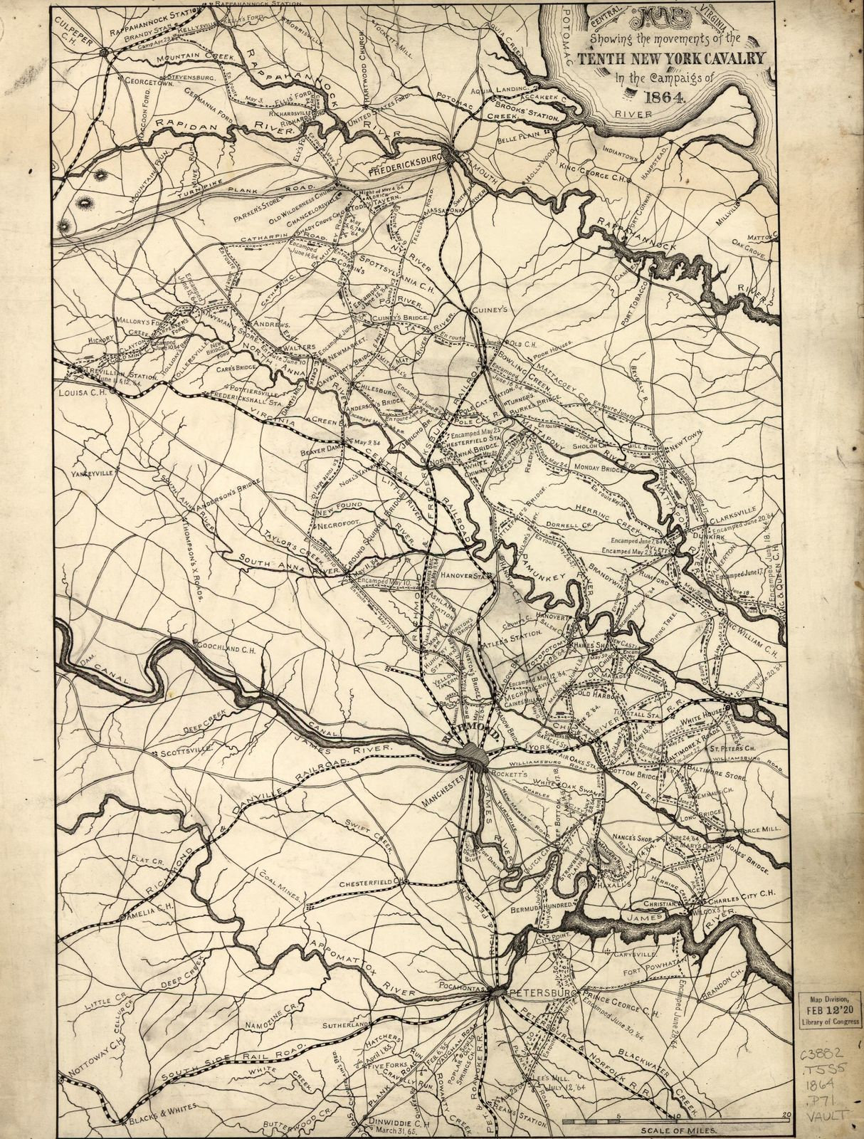 Map [of] central Virginia showing the movements of the Tenth New York Cavalry in the campaigs [sic] of 1864.