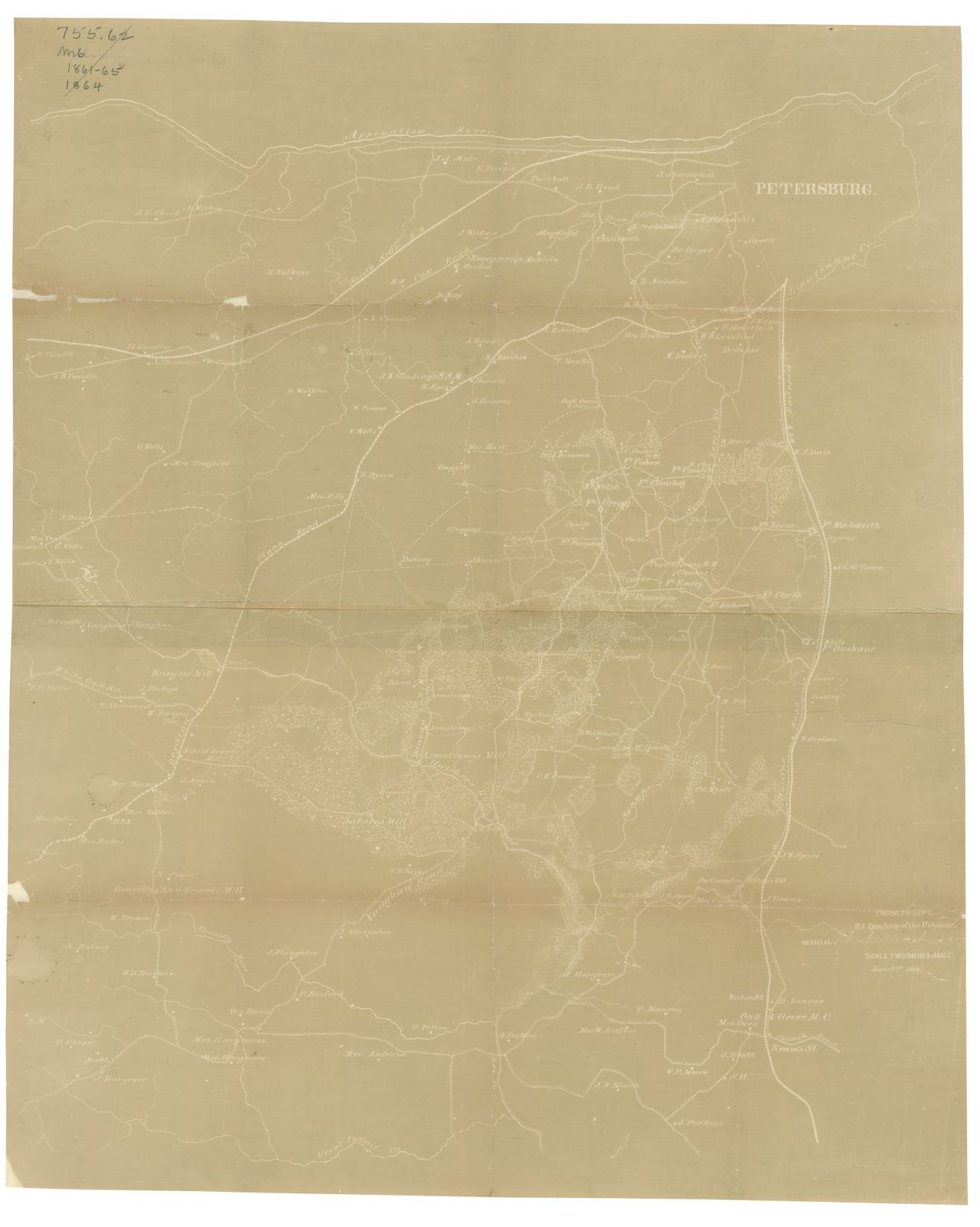 [Map of Dinwiddie and parts of Prince George and Sussex counties, Virginia] /